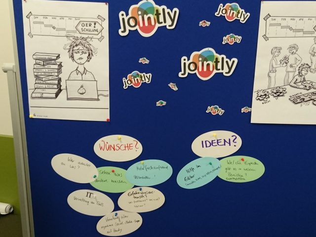 JOINTLY Ideensammlung mit Papierkarten an Stellwand