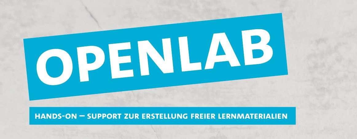 OpenLab Logo mit dem Slogan: Hands-on – Support zur Erstellung freier Lernmaterialien