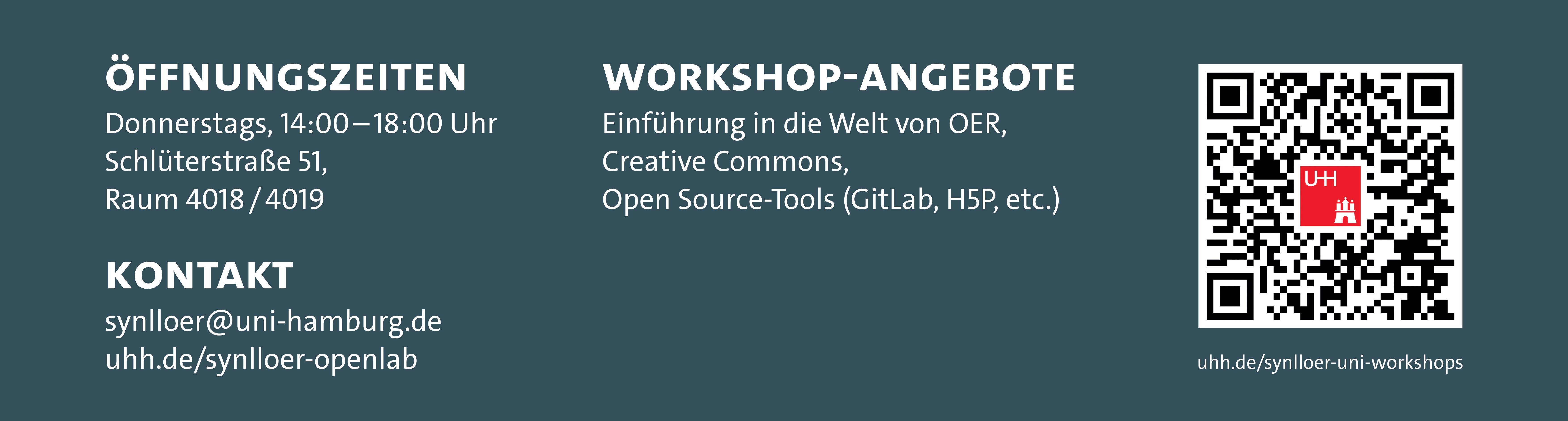 Darstellung der Öffnungszeiten, Kontaktadresse & Workshopangebote